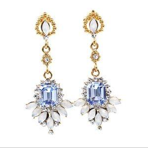Elegant blue pendant crystal golden earrings